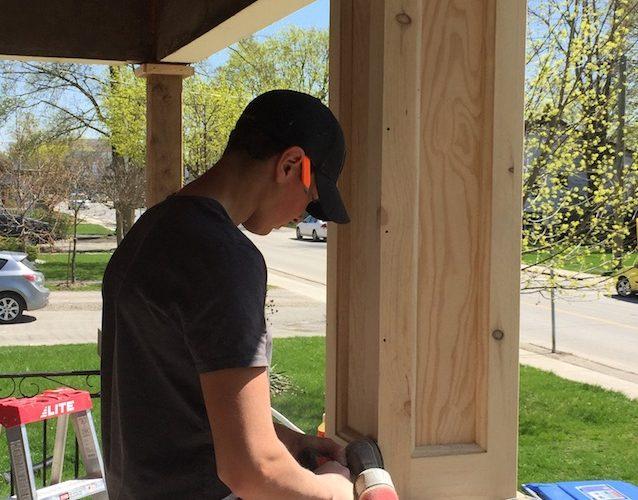 Wooden column detail decoration Stephenson Windows Strathroy Ontario 1